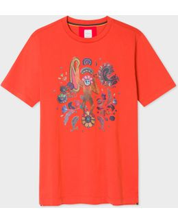 Men's Slim-fit Red 'monkey' Print T-shirt