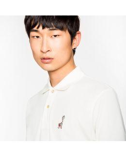 Men's Slim-fit White Cotton-piqué Polo Shirt With Embroidered Lemur