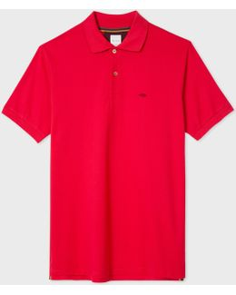 Men's Slim-fit Red Cotton-piqué Polo Shirt With Embroidered 'lips'