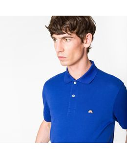 Men's Slim-fit Blue Cotton-piqué Polo Shirt With Embroidered 'rainbow'