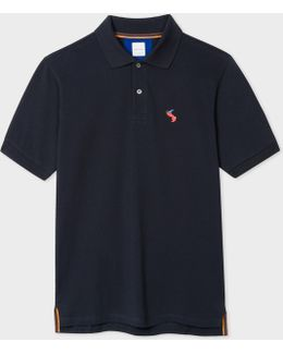 Men's Slim-fit Navy Cotton-piqué Polo Shirt With Embroidered 'rabbit'