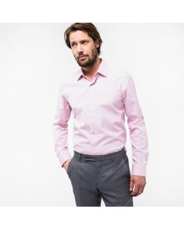 Men's Tailored-fit Pink Cotton 'artist Stripe' Cuff Shirt