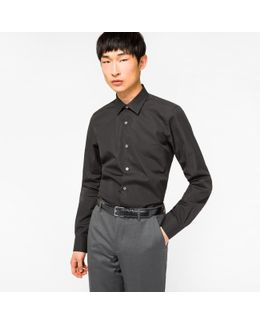 Men's Tailored-fit Black Cotton 'artist Stripe' Cuff Shirt