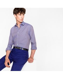 Men's Tailored-fit Mauve Gingham Check Cotton Shirt With Contrast Cuff Lining