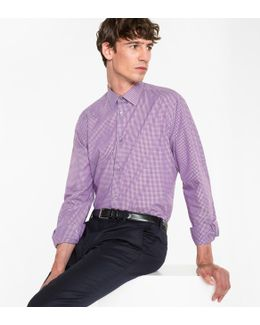 Men's Tailored-fit Pink Gingham Check Cotton Shirt With Contrast Cuff Lining