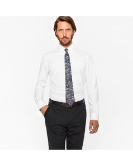 Men's Tailored-fit White Floral Jacquard Cotton Shirt With 'artist Stripe' Cuff Lining