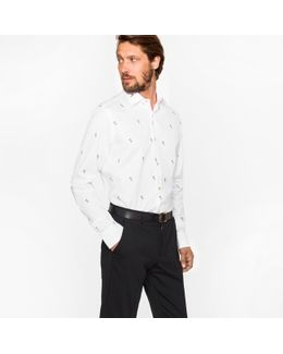 Men's Tailored-fit White 'rabbit' Motif Cotton-twill Shirt