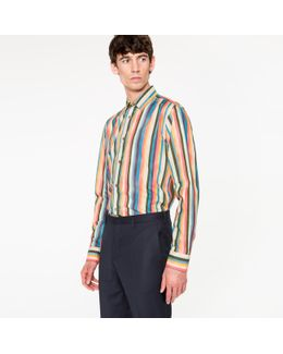 Men's Tailored-fit Cotton 'artist Stripe' Shirt