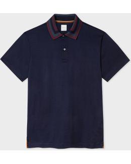 Men's Navy Cotton Contrast Stripe-collar Polo Shirt