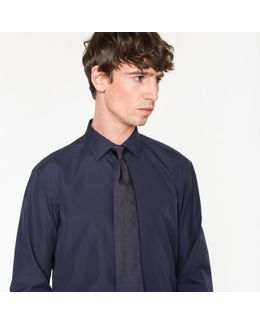 Men's Classic-fit Navy Shirt With 'artist Stripe' Cuff Lining