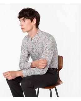 Men's 'regent Floral' Print Shirt With 'artist Stripe' Cuff Lining