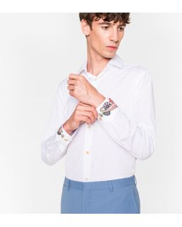 Men's Slim-fit White Cotton Shirt With Paisley Embroidered Cuffs