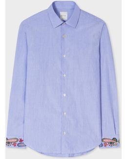 Men's Slim-fit Sky Blue Cotton Shirt With Paisley Embroidered Cuffs