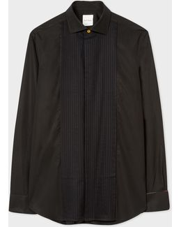 Men's Tailored-fit Black Pleat-front Cotton Evening Shirt With 'artist Stripe' Double Cuff