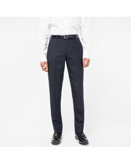 A Suit To Travel In - Men's Slim-fit Navy Wool Trousers