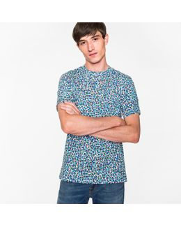 Men's Blue 'overlaid Marbles' Print T-shirt