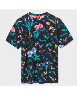 Men's Black 'painted Floral' Print T-shirt