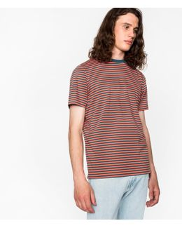 Men's Coral And Petrol Stripe Supima-cotton T-shirt