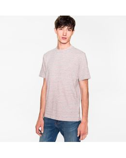 Men's Grey And Pink Static-stripe Cotton T-shirt