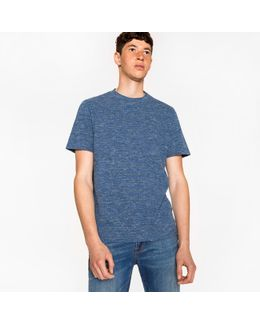 Men's Navy And Black Static-stripe Cotton T-shirt