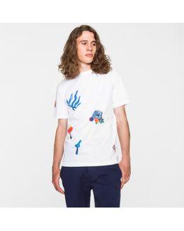 Men's White 'painted Floral' Print Supima-cotton T-shirt