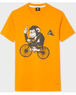 Men's Slim-fit Orange 'cycling Monkey' Print T-shirt