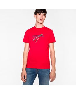 Men's Slim-fit Red 'sticks' Print Organic-cotton T-shirt