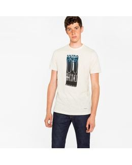 Men's Slim-fit Off-white 'blue Black' Print T-shirt
