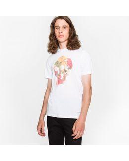 Men's White 'floral Skull' Print Organic-cotton T-shirt