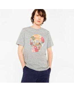 Men's Grey 'floral Skull' Print Organic-cotton T-shirt