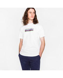 Men's White 'cycle Stripe' Print Organic-cotton T-shirt