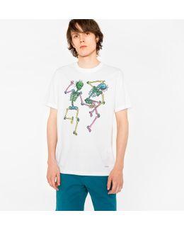 Men's White 'dancing Skeletons' Print Organic-cotton T-shirt