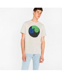 Men's Light Grey 'ps 8-ball' Print Organic-cotton T-shirt