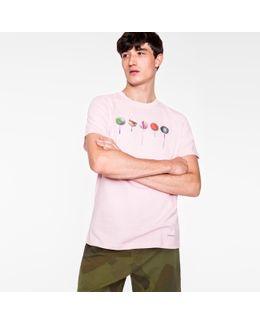 Men's Pink 'lollipops' Print Cotton T-shirt