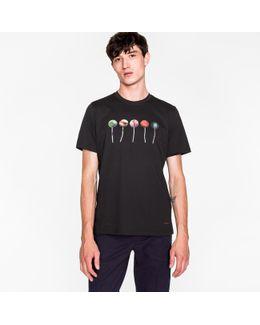 Men's Black 'lollipops' Print Cotton T-shirt