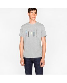 Men's Grey 'test Tubes' Print Cotton T-shirt