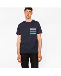Men's Navy Organic-cotton Stripe Pocket T-shirt