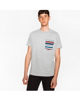 Men's Grey Marl Organic-cotton Stripe Pocket T-shirt