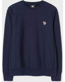 Men's Navy Organic-cotton Zebra Logo Sweatshirt
