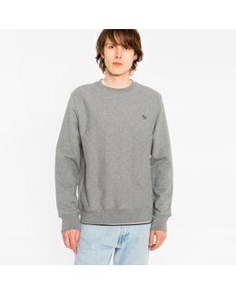 Men's Grey Marl Organic-cotton Zebra Logo Sweatshirt