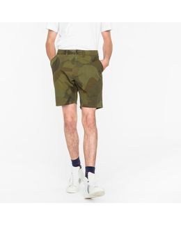 Men's Green 'circle Camouflage' Cotton Shorts