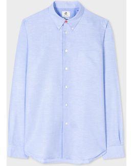 Men's Tailored-fit Sky Blue Cotton-linen Slub Button-down Shirt