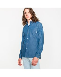 Men's Tailored-fit Indigo-dyed Mid-wash Cotton-denim Button-down Shirt