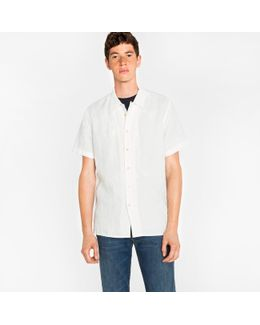 Men's White Linen Short-sleeve Shirt