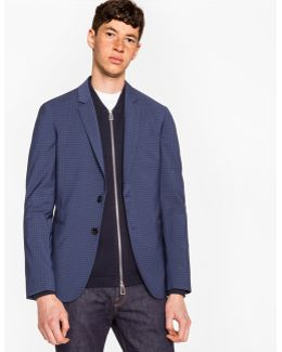 Men's Slim-fit Navy And Slate Blue Check Wool-blend Blazer