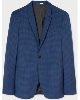 Men's Slim-fit Navy And Slate Blue Check Wool-blend Blazer