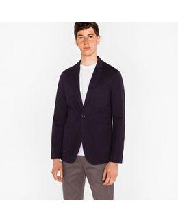 Men's Navy Stretch-cotton Patch Pocket Blazer