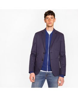 Men's Slim-fit Navy Stretch-cotton Buggy-lined Blazer