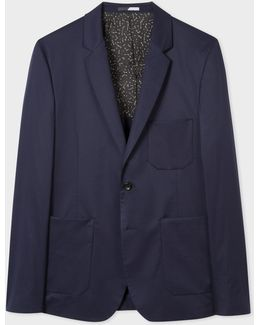 Men's Slim-fit Navy Stretch-cotton Buggy-lined Blazer