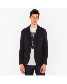 Men's Slim-fit Navy Textured-cotton Buggy-lined Blazer